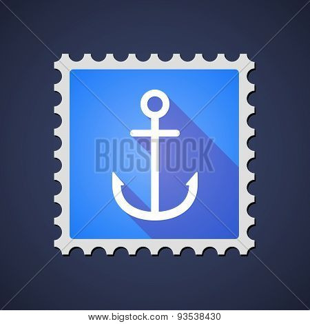 Blue ,ail Stamp Icon With An Anchor