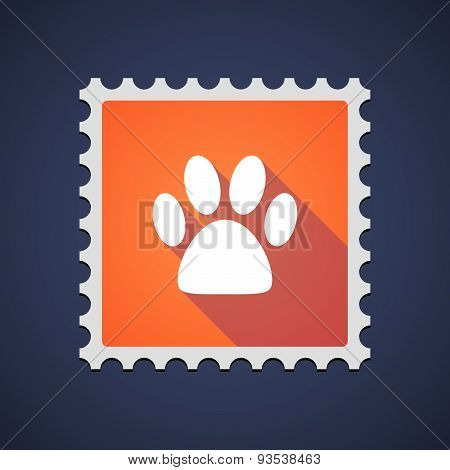 Orange Mail Stamp Icon With An Animal Footprint