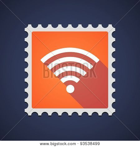 Orange Mail Stamp Icon With A Radio Signal Sign
