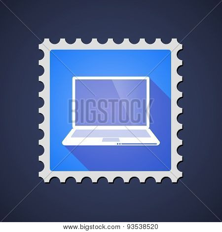 Blue ,ail Stamp Icon With A Laptop