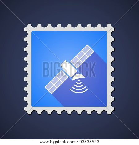 Blue Mail Stamp Icon With A Satellite