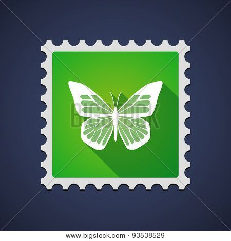 Green Mail Stamp Icon With A Butterfly