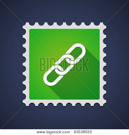 Green Mail Stamp Icon With A Chain