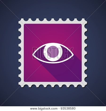 Purple Mail Stamp Icon With An Eye