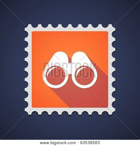 Orange Mail Stamp Icon With A Binoculars