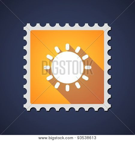 Yellow Mail Stamp Icon With A Sun