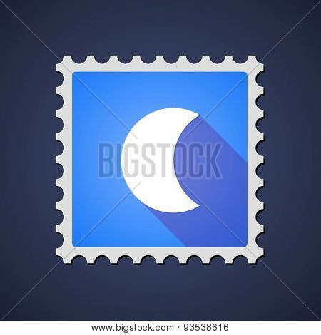 Blue Mail Stamp Icon With A Moon