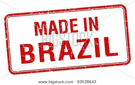 Made In Brazil Red Square Isolated Stamp