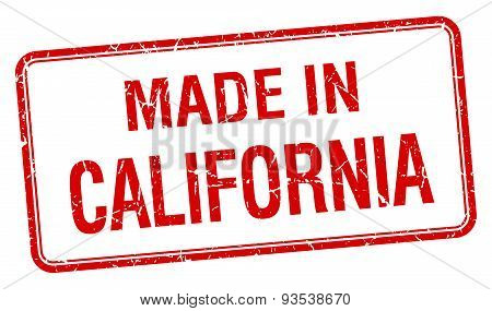 Made In California Red Square Isolated Stamp
