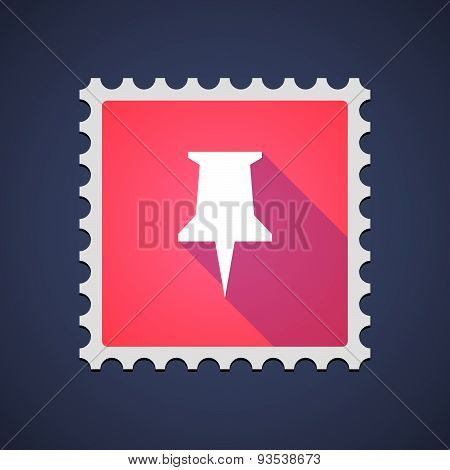 Red Mail Stamp Icon With A Pushpin