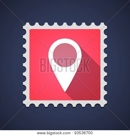 Red Mail Stamp Icon With A Map Mark