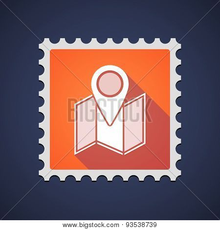 Orange Mail Stamp Icon With A Map