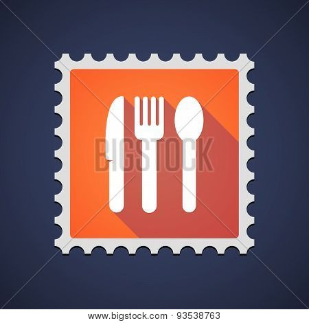 Orange Mail Stamp Icon With Cutlery