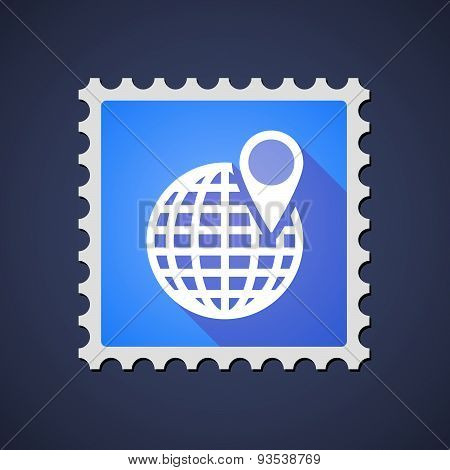 Blue Mail Stamp Icon With A World Globe