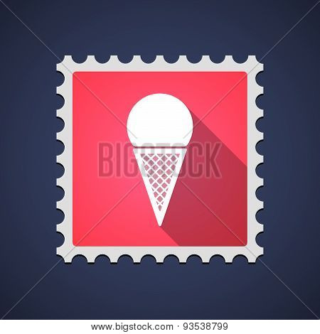 Red Mail Stamp Icon With A Cone Ice Cream