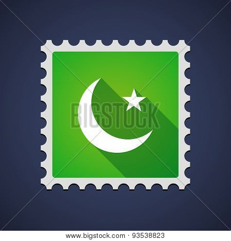 Green Mail Stamp Icon With An Islam Sign