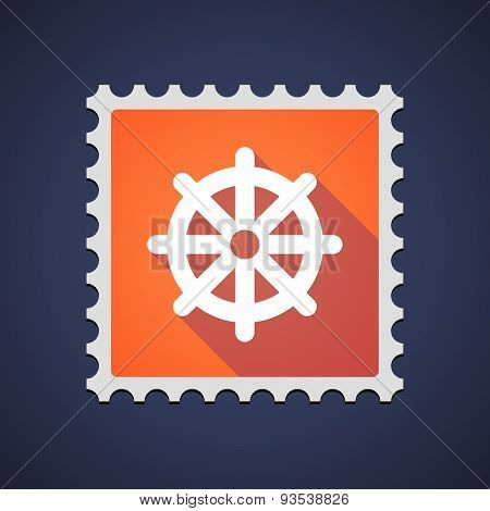Orange Mail Stamp Icon With A Dharma Chakra Sign