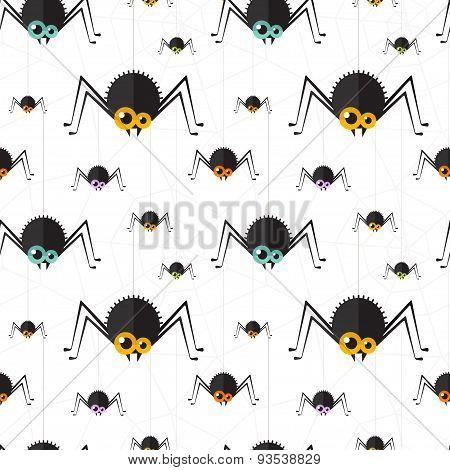Vector halloween spider seamless background. Eps10