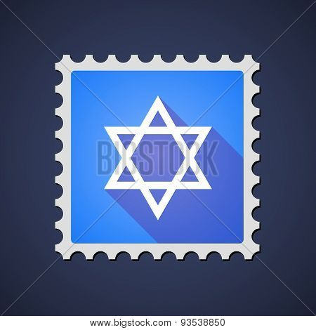 Blue Mail Stamp Icon With A David Star