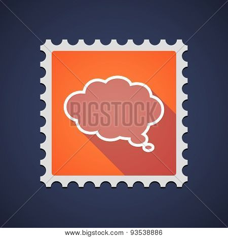Orange Mail Stamp Icon With A Cloud Comic Balloon