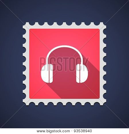 Red Mail Stamp Icon With A Earphones