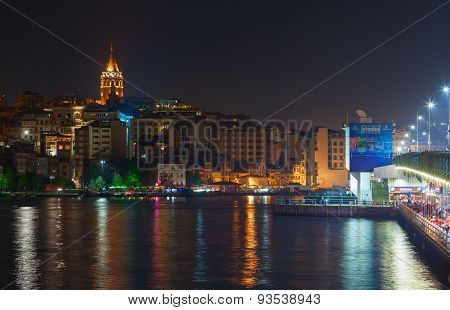 Galata Bridge and Istanbul city in the nighttime