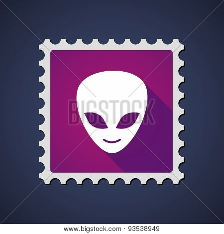 Purple Mail Stamp Icon With An Alien