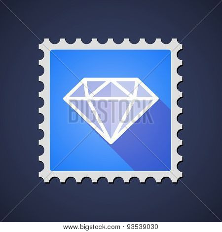 Blue Mail Stamp Icon With A Diamond