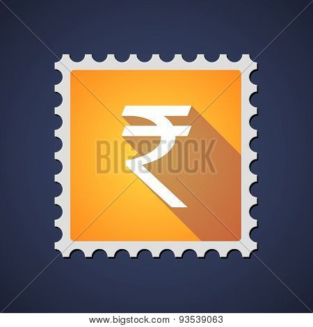 Yellow Mail Stamp Icon With A Rupee Sign