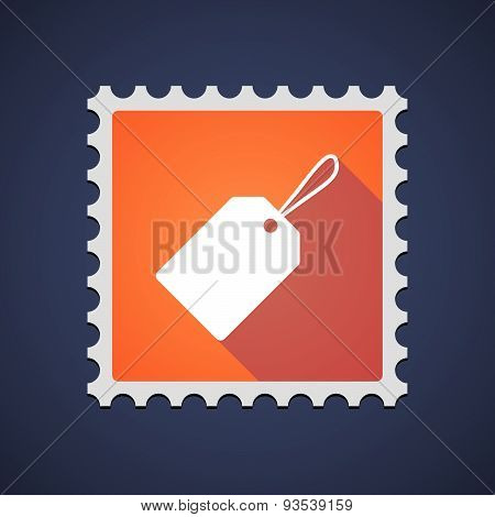 Orange Mail Stamp Icon With A Label
