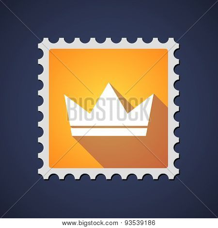Yellow Mail Stamp Icon With A Crown