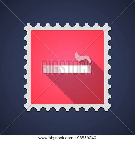 Red Mail Stamp Icon With A Cigarette
