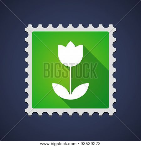Green Mail Stamp Icon With A Tulip