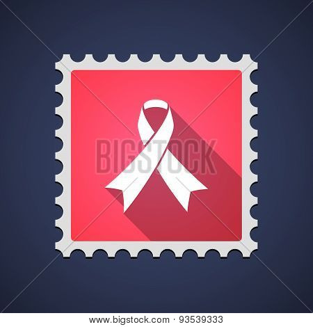 Red Mail Stamp Icon With An Awareness Ribbon