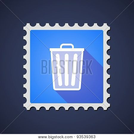 Blue Mail Stamp Icon With A Trash Can