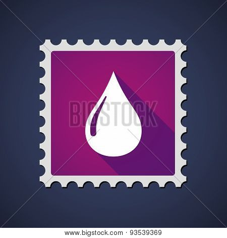 Purple Mail Stamp Icon With A Fuel Drop