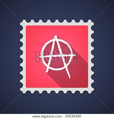 Red Mail Stamp Icon With An Anarchy Sign