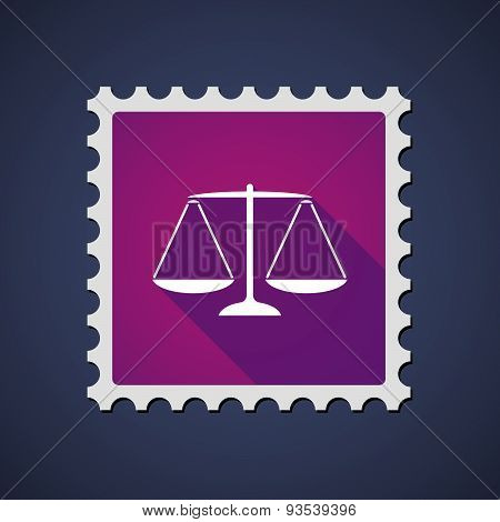 Purple Mail Stamp Icon With A Weight Scale