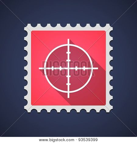 Red Mail Stamp Icon With A Crosshair