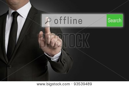 Offline Internet Browser Is Operated By Businessman