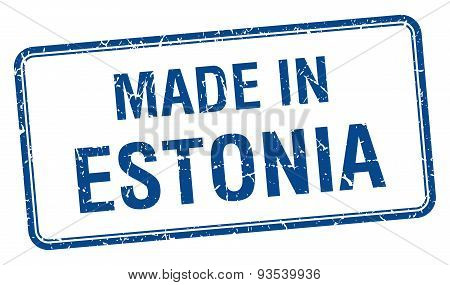 Made In Estonia Blue Square Isolated Stamp
