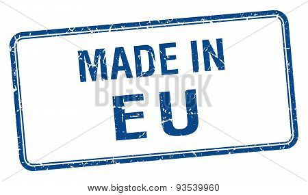 Made In Eu Blue Square Isolated Stamp