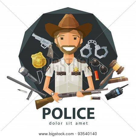 Ranger, sheriff vector logo design template. police, law, constabulary or policeman icon. flat illus