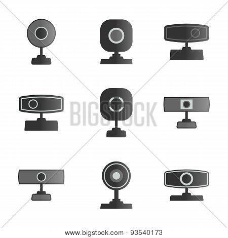 Set  Icons Webcam, Vector Illustration.