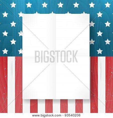 Vector Vintage Independence 4 July American Flag On Wood Background