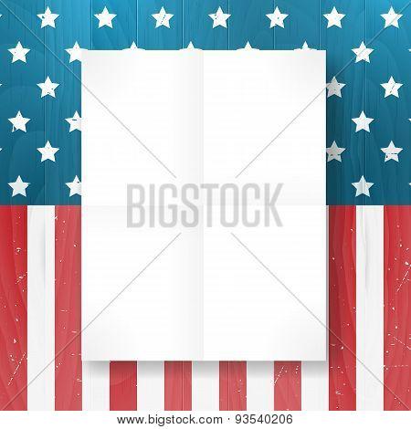 Vector Vintage Independence 4 July American Flag On Wood Background