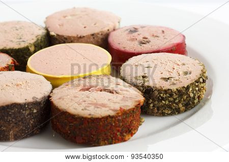 Small rounds of pate.