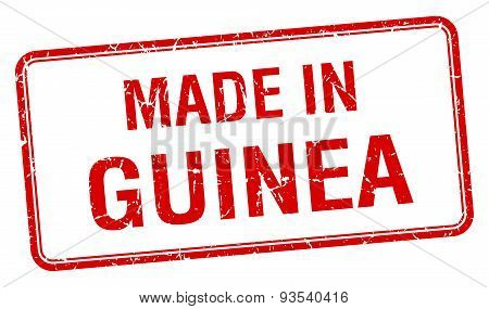 Made In Guinea Red Square Isolated Stamp