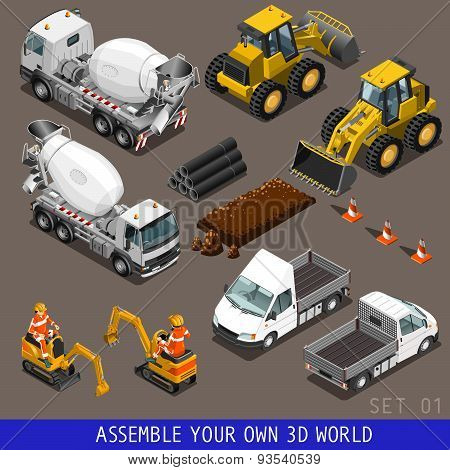 City Construction Transport Isometric Flat 3D Icon Set