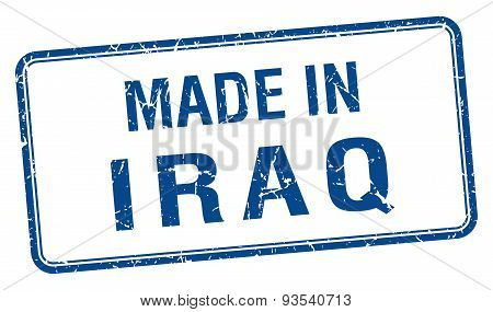Made In Iraq Blue Square Isolated Stamp